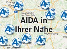 Landkarte mit AIDA Whirlpools
