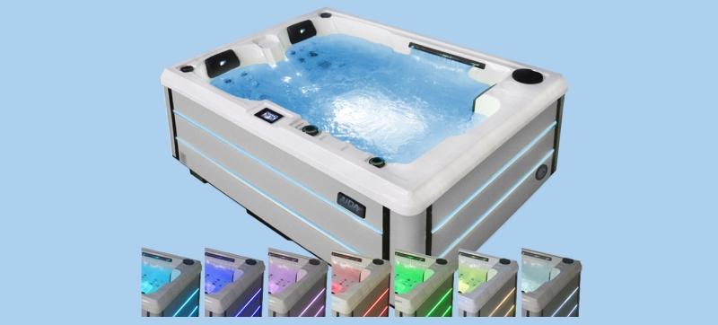 Outdooe Whirlpool mit Farblichttherapie, verschiedene Farben